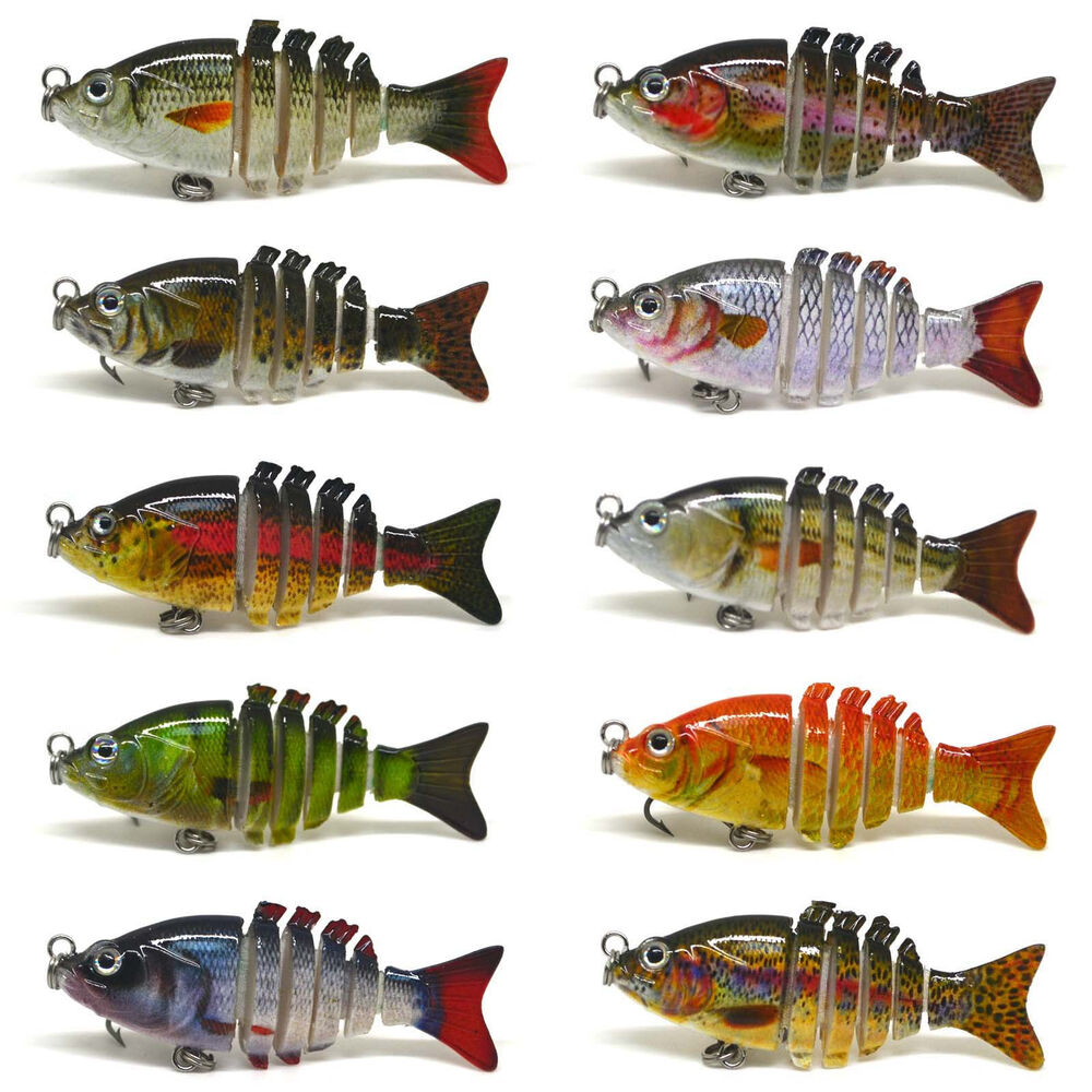 2 multi jointed fishing hard lure bait swimbait life like for Bluegill fishing lures