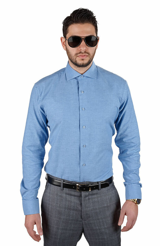 Tailored Slim Fit Mens Blue Dress Shirt Wrinkle Free