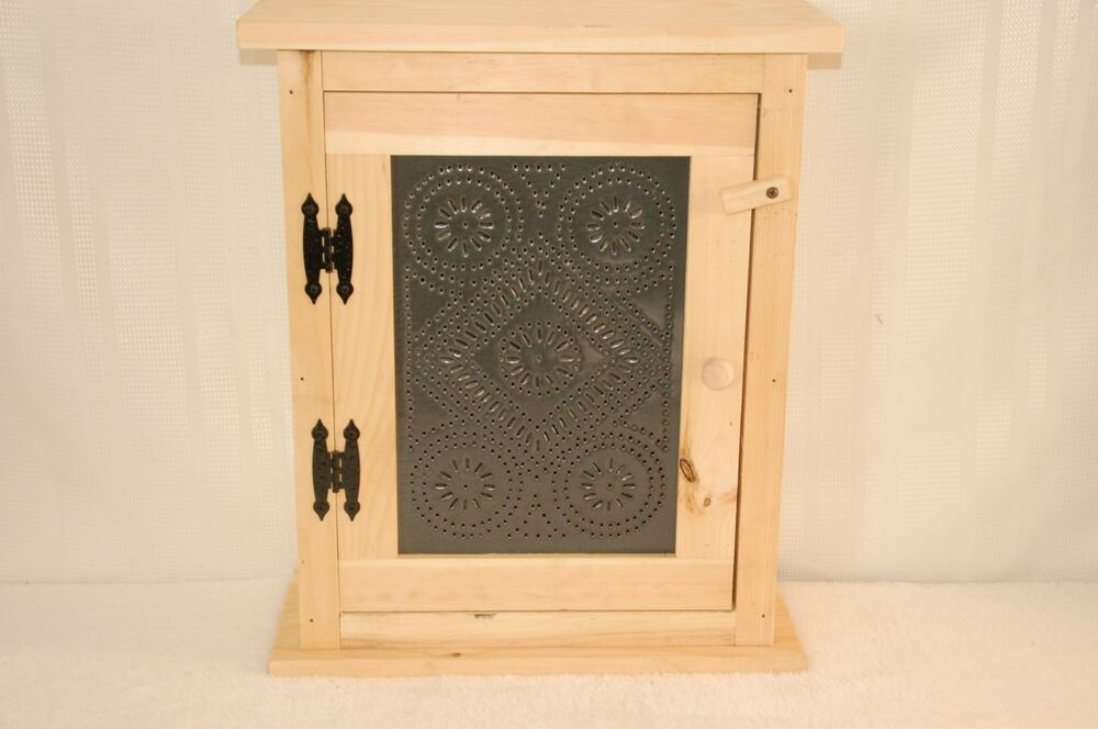 Wooden Spice Rack With Punched Tin Front Ebay