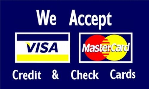 we accept visa mastercard 3x5 ft flag business sign