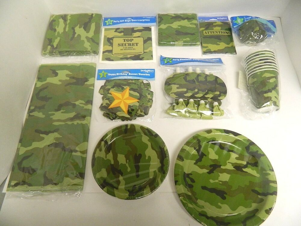 Army camouflage party supplies tablecover cups plates for Army party decoration ideas