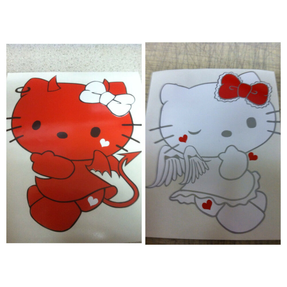 Hello Kitty Angel And Devil Car Decals Comes In A Pair