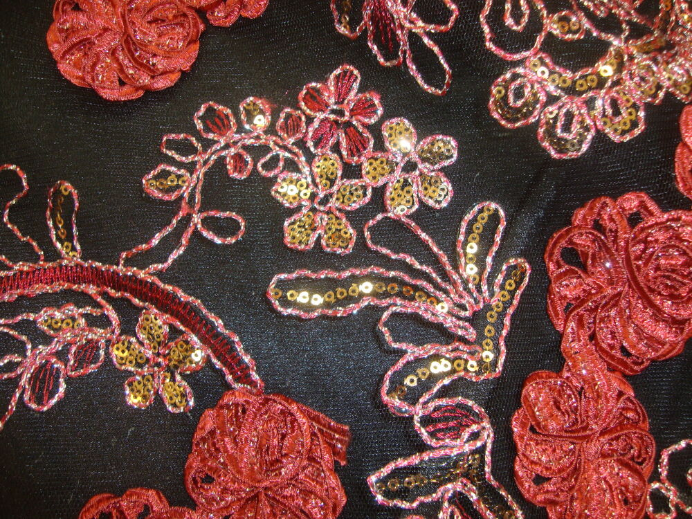 Red floral embroidered sequin lace flower quot fabric by