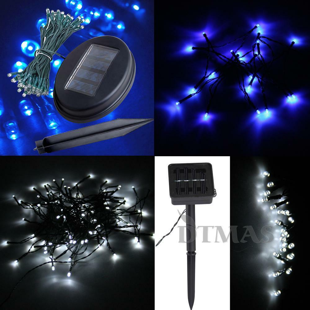 Blue white ledsolar power string fairy light christmas for Outdoor christmas lights