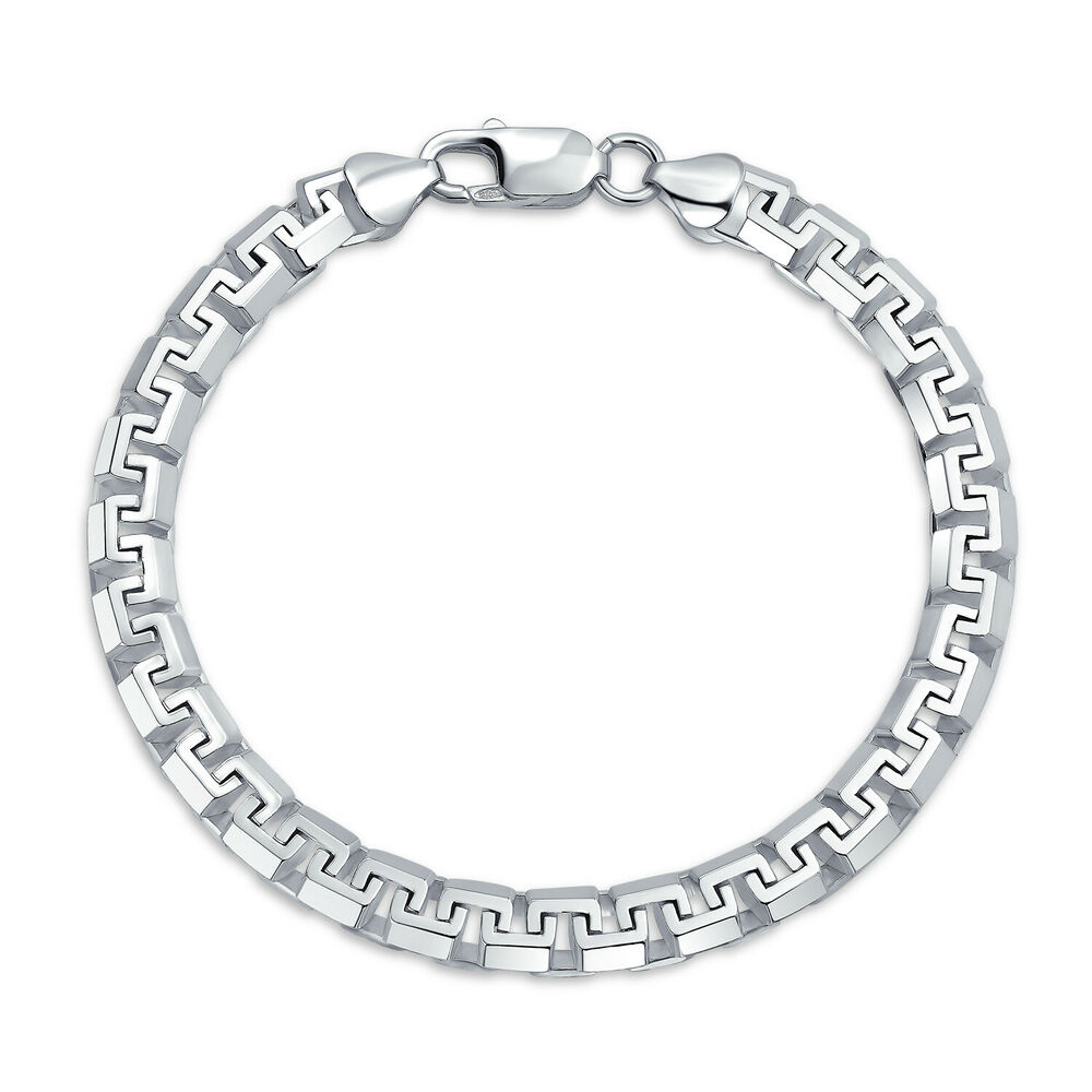 bling jewelry mens square link chain bracelet 925 sterling. Black Bedroom Furniture Sets. Home Design Ideas