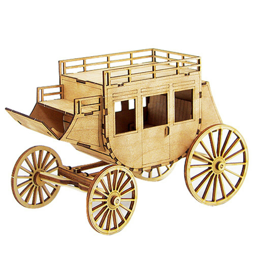 wagon wooden model kit miniature education coach carriage. Black Bedroom Furniture Sets. Home Design Ideas