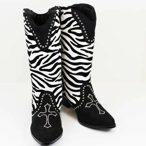 New Zebra Print Cross Bling Rhinestone Black White Western