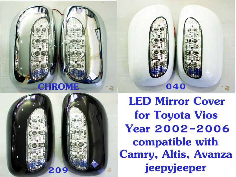 led mirror cover toyota vios soluna sedan 2002 2006 camry corolla altis avanza ebay. Black Bedroom Furniture Sets. Home Design Ideas