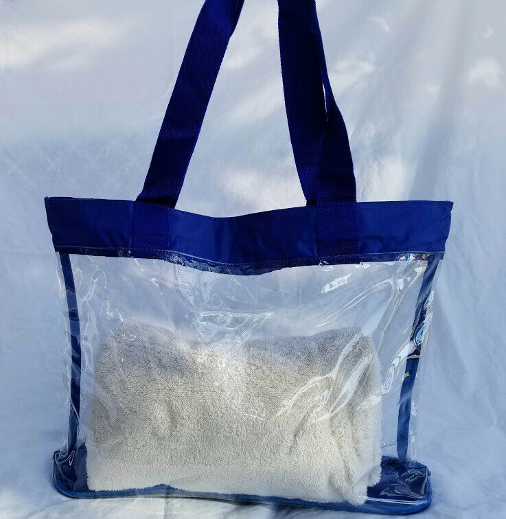 Clear Vinyl Blue Trim Consultant Beach Shopping Travel Tote Bag ...