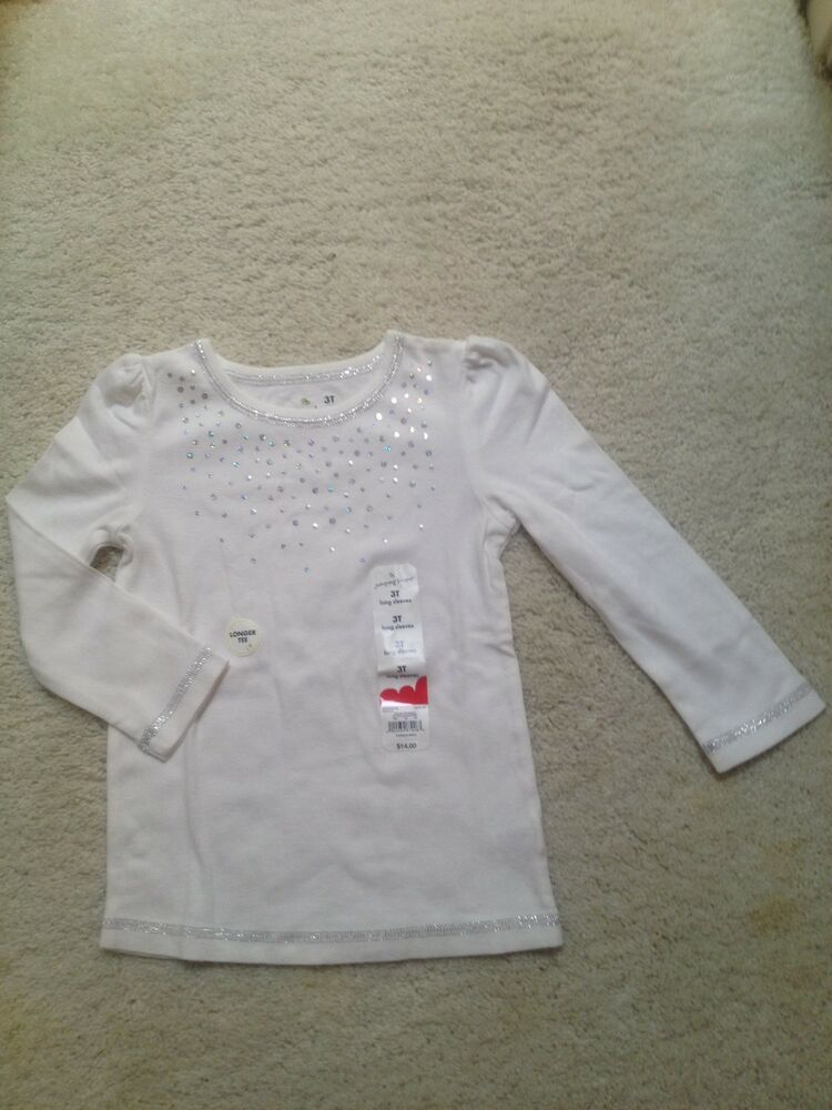 New White Long Sleeve Sparkle Shirt Toddlers Girls