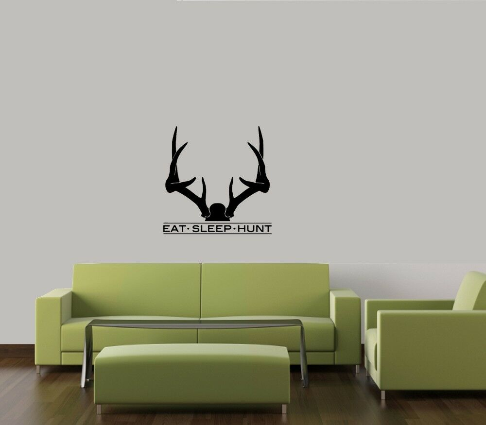EAT SLEEP HUNT ANTLERS BOYS HUNTING VINYL WALL DECAL
