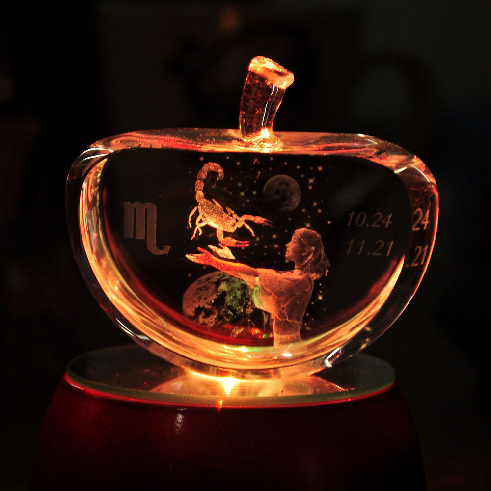 Hot 3d Laser Etched Crystal Scorpio Apple Paperweight Led