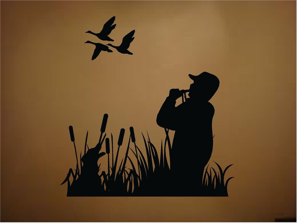 Ducks duck hunting dog duck call outdoors vinyl wall decal for Hunting wall decals