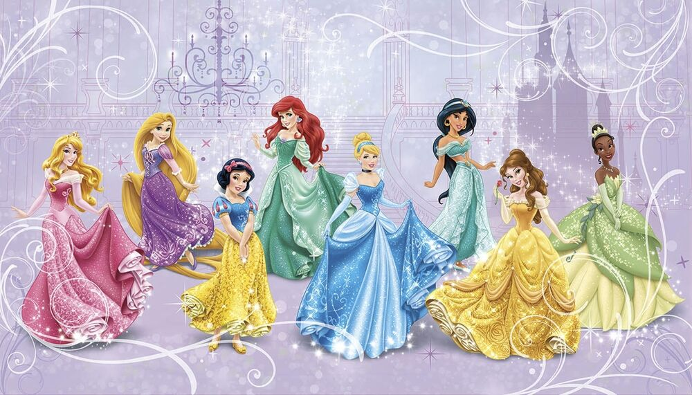 New xl disney princess royal debut wall mural prepasted for Disney princess wallpaper mural