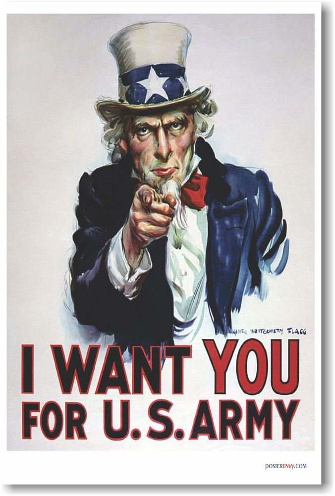 i want you for us army uncle sam new vintage reprint poster 799491526648 ebay. Black Bedroom Furniture Sets. Home Design Ideas