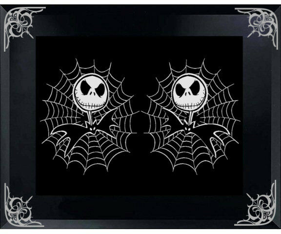 jack skellington with spider web 5 x 5 car decal sticker comes in a pair ebay. Black Bedroom Furniture Sets. Home Design Ideas