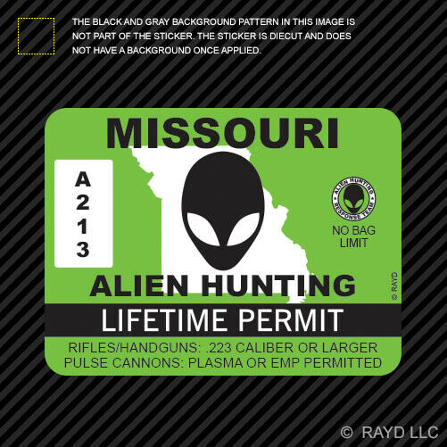Missouri alien hunting permit sticker decal self adhesive for Missouri non resident fishing license