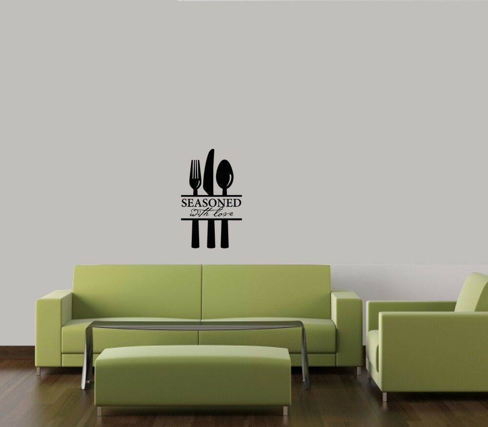 seasoned with love kitchen home sticker wall decal words lettering decor quote ebay. Black Bedroom Furniture Sets. Home Design Ideas
