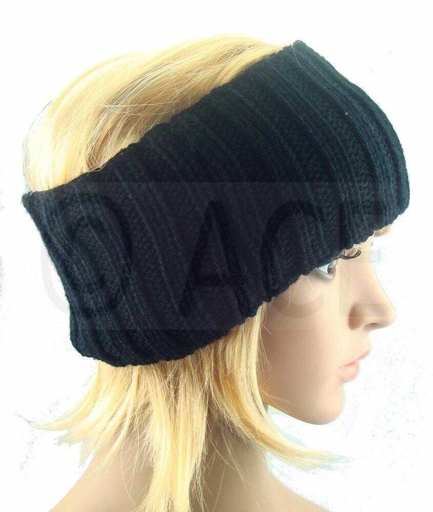 Knitting Pattern Ribbed Headband : Womens Chunky Crochet Knit Knitted Ribbed Winter Warm ...