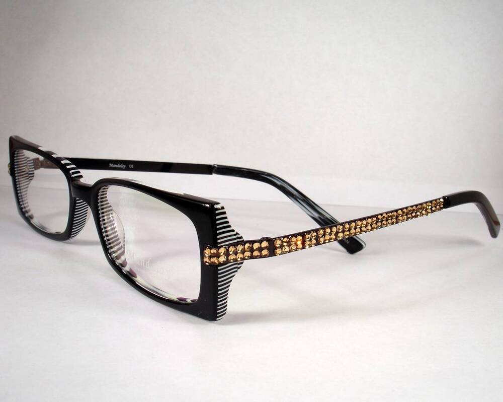Designer Eyeglass Frames For Ladies : Mandalay 903 Black Stripe Women Eyeglasses Eyewear Frames ...