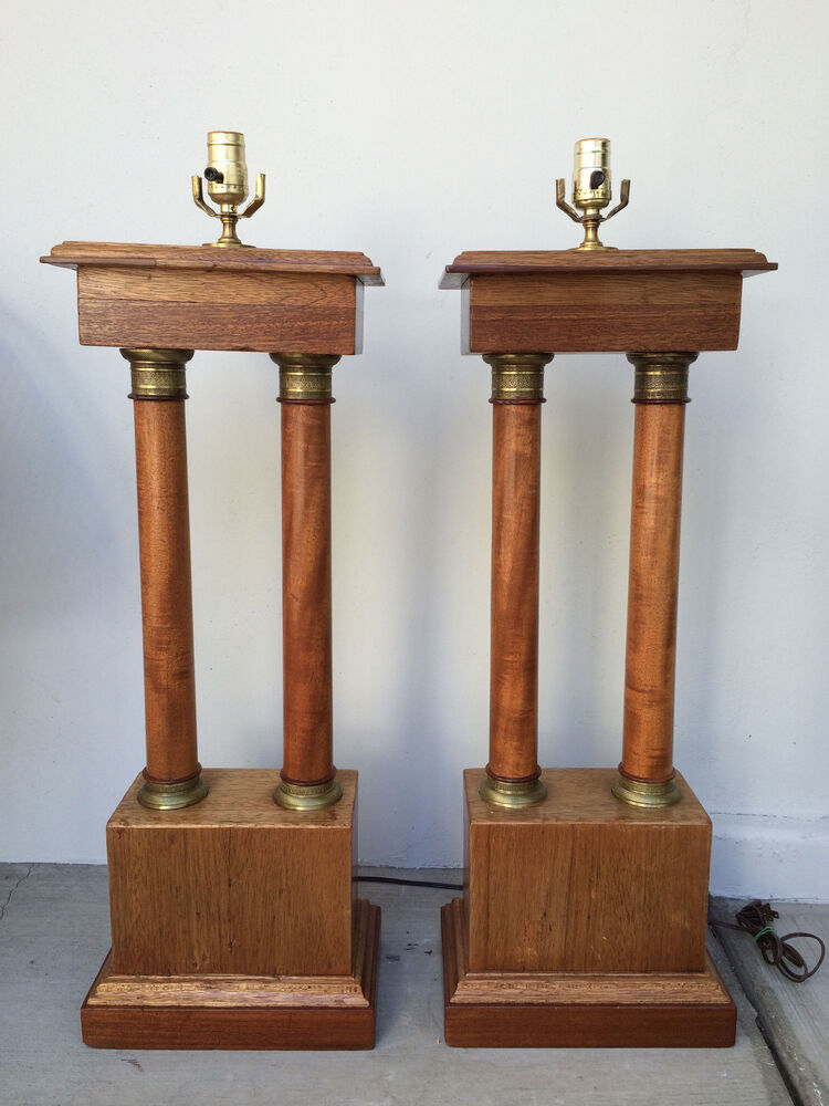 Monumental Pair Of Vintage Tall Neoclassic Wood Amp Brass