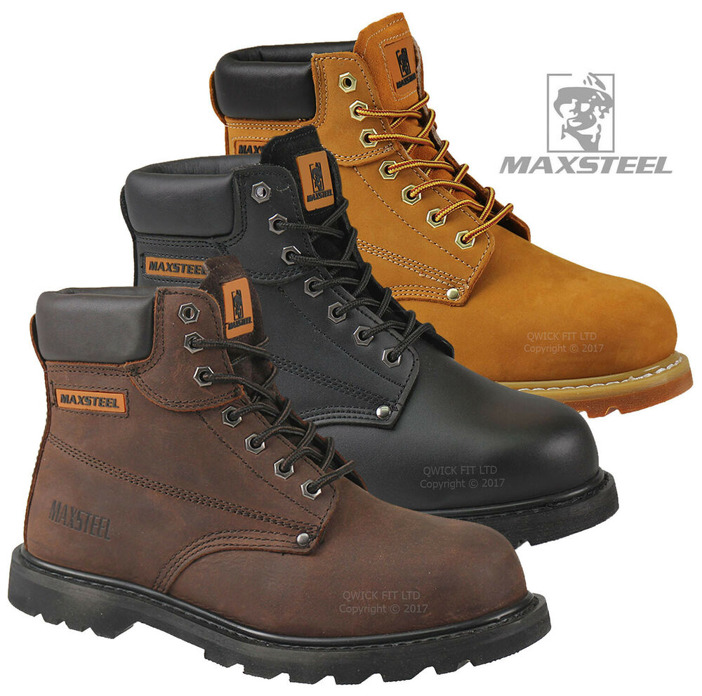 MENS WORK SAFETY SHOES LEATHER BOOTS STEEL TOE CAP ANKLE BOOTS SHOES TRAINERS | EBay