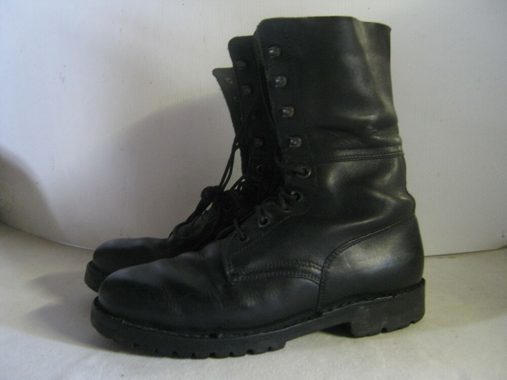 austrian army leather boots black used combat surplus high