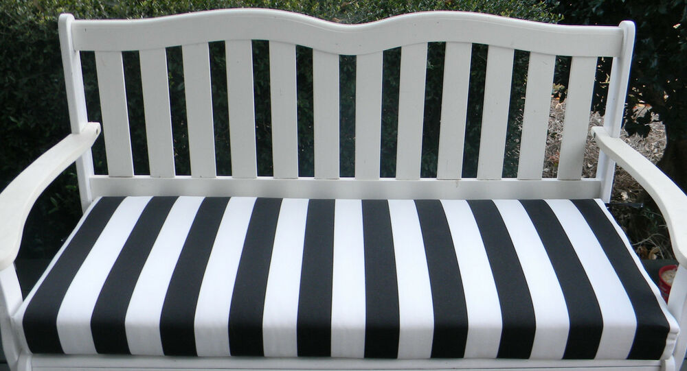 In Outdoor Swing Bench Cushion Black And White Stripe