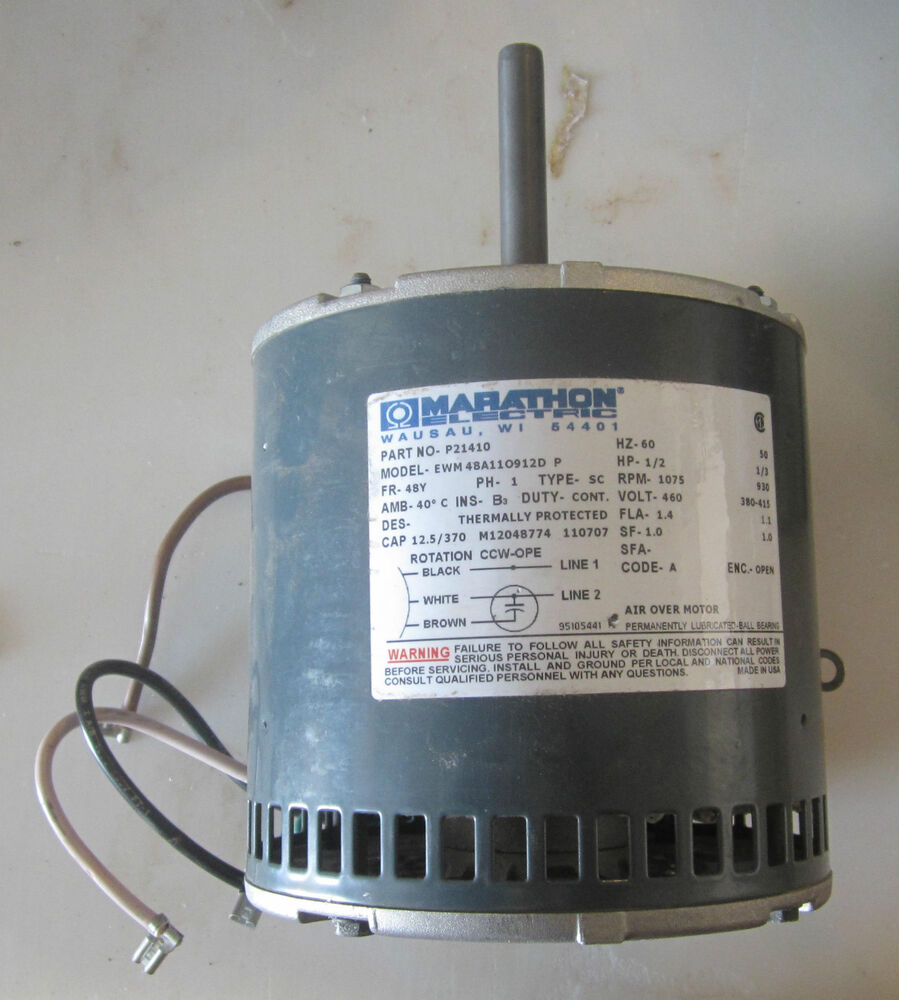 marathon furnace blower condenser fan motor 1 2hp 460v