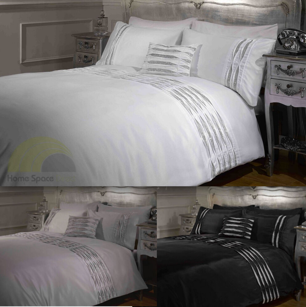 Crystal Diamante Detail Duvet Quilt Cover Bed Sets White Silver Black 4 Sizes Ebay