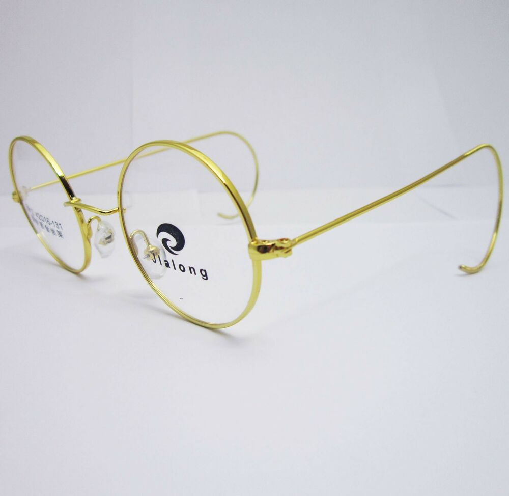Eyeglass Frame For Small Faces : 42mm Antique Vintage Round Silver Gold Wire Rim Eyeglass ...