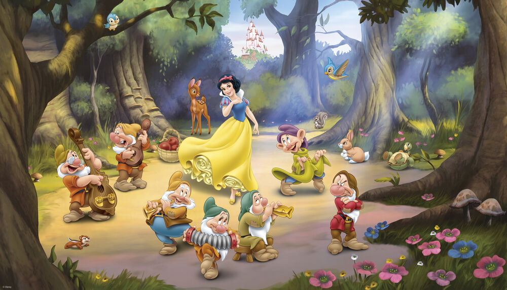 New xl snow white dwarfs prepasted wallpaper mural for Disney princess wallpaper mural