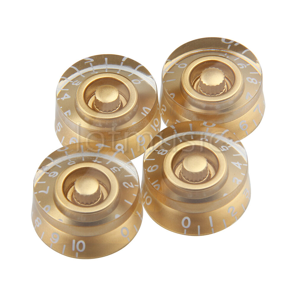 4 pcs speed volume tone control knobs for gibson les paul electric guitar gold ebay. Black Bedroom Furniture Sets. Home Design Ideas