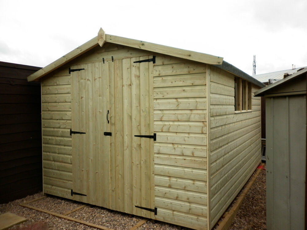 Heavy duty apex t g wooden garden workshop storage shed ebay for Outdoor wood shed
