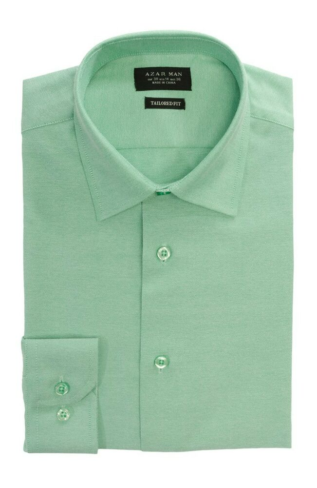 Tailored slim fit mens green dress shirt wrinkle free for Men s spread collar shirts