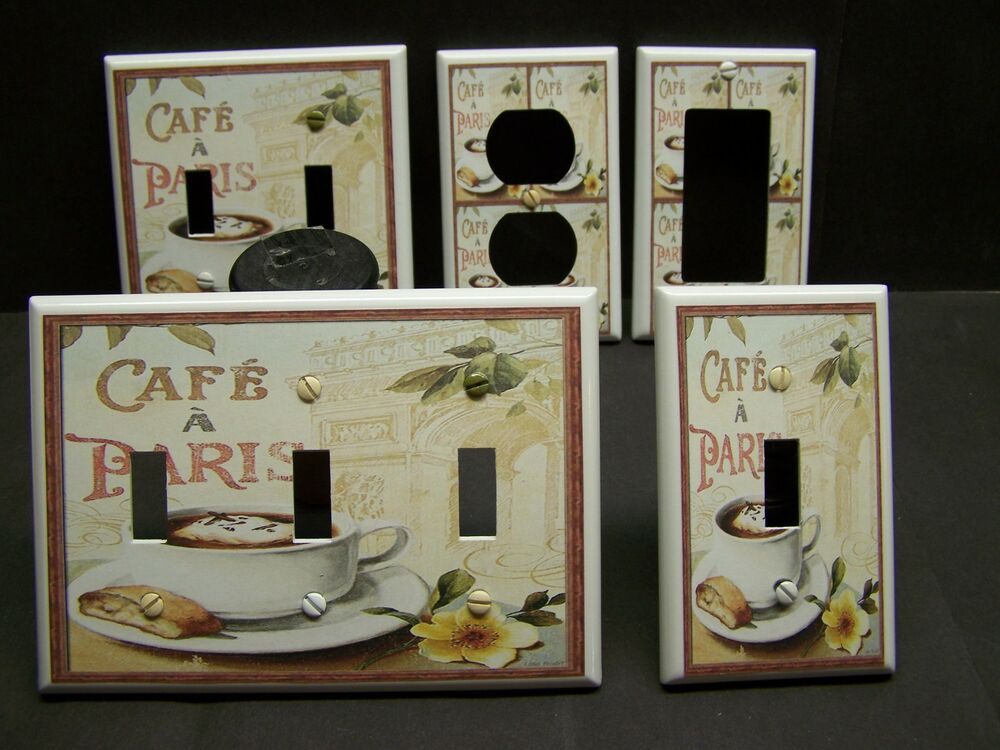 Coffee Cafe Paris Kitchen Decor Light Switch Or Outlet