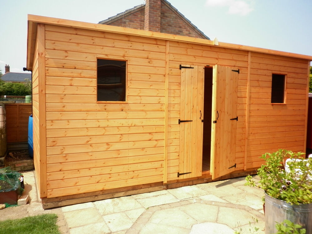 Large heavy duty pent roof wooden garden workshop ebay for Garden shed large