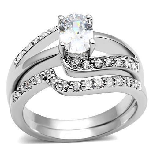 W022P 2PCS OVAL SWIRL SOLITAIRE WEDDING ENGAGEMENT RING