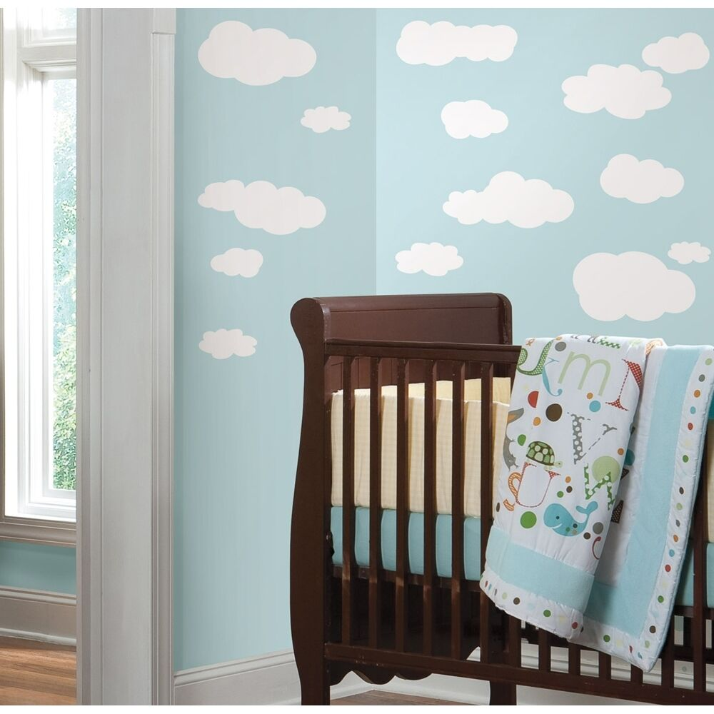 19 new white clouds wall decals baby nursery sky stickers for Baby nursery wall decoration