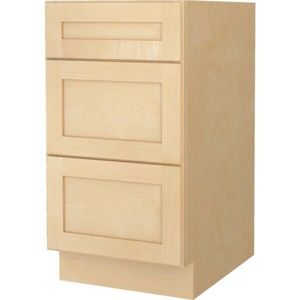 Bathroom vanity drawer base cabinet natural maple shaker for 18 inch deep base kitchen cabinets