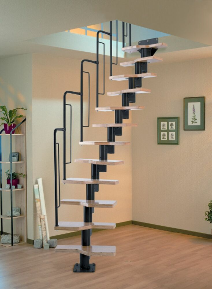 Dolle Graz Space Saver Spiral Loft Staircase Kit Black