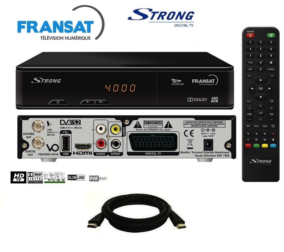 pack recepteur strong srt 7405 hd carte fransat receiver. Black Bedroom Furniture Sets. Home Design Ideas