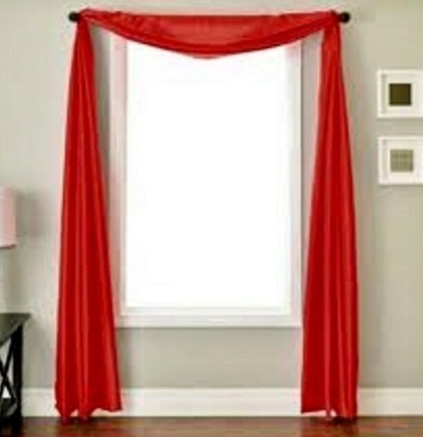 Curtains Ideas voile curtain : RED SCARF SHEER VOILE WINDOW TREATMENT CURTAIN DRAPES VALANCE | eBay