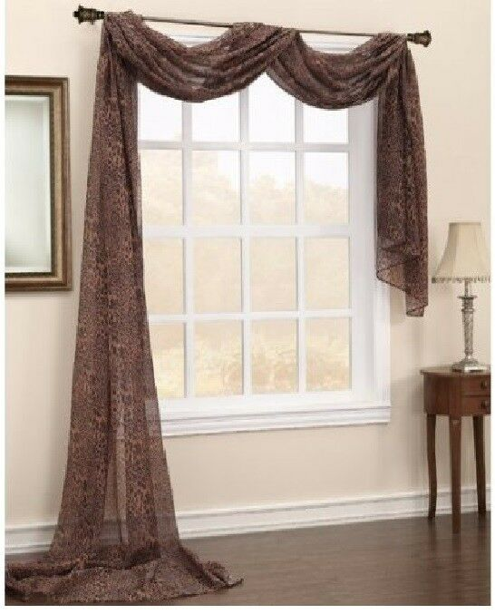 Animal Leopard Brown Scarf Sheer Window Treatment Curtain