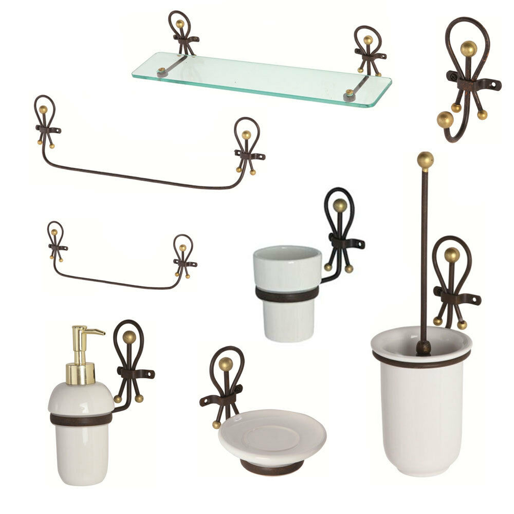 Feridras accessori set bagno in ferro battuto e ceramica for Accessori lavandino bagno