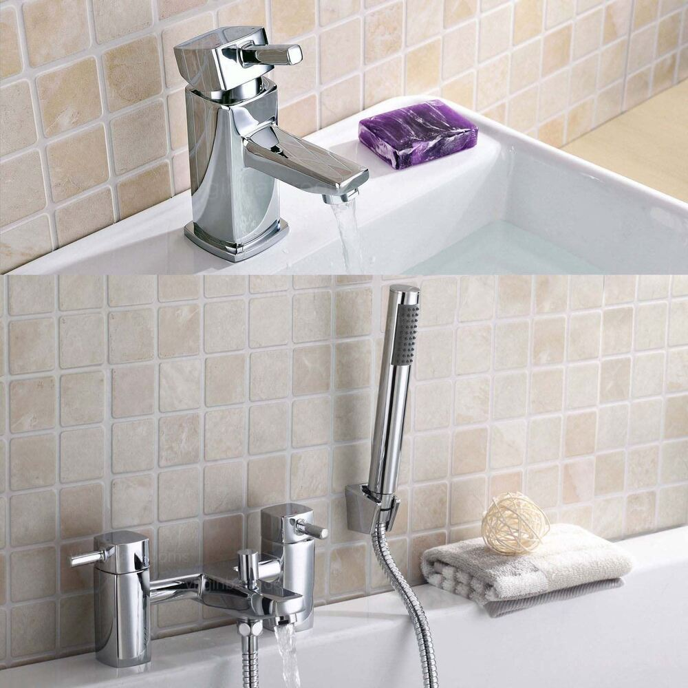 Boston Chrome Square Single Lever Basin Sink Mono Amp Bath