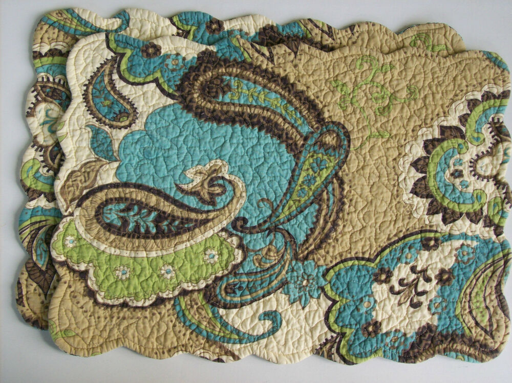 C Amp F Kasbah Quilted Cotton Placemats Set Of 2 Teal Blue