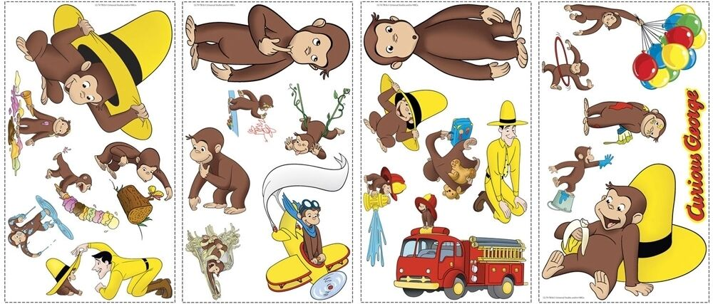 24 new curious george wall decals monkey stickers monkeys for Curious george wall mural