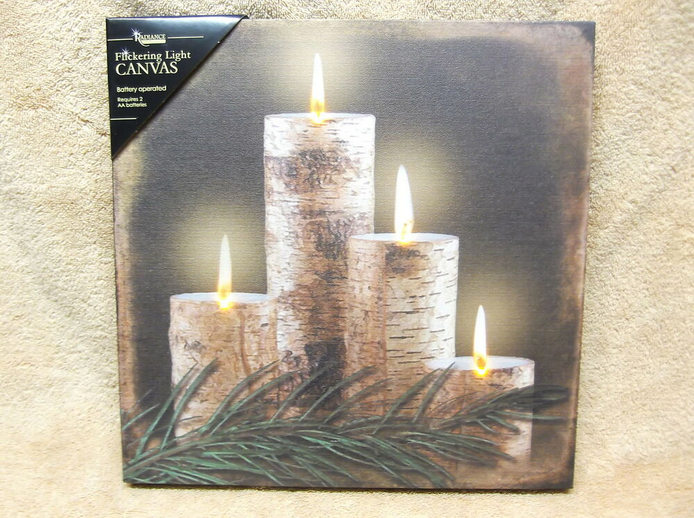 Lighted Canvas Wall Decor : Birch candle lighted canvas wall decor sign