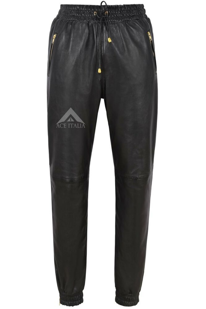 Mens Black Napa Real Soft Leather Trousers Sweat Track Pant Zip Jogging Bottom | eBay